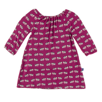 Print Long Sleeve Peasant Dress in Berry Cow