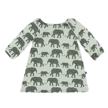Print Long Sleeve Peasant Dress in Aloe Elephants