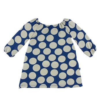Print Long Sleeve Peasant Dress in Navy Mod Dot
