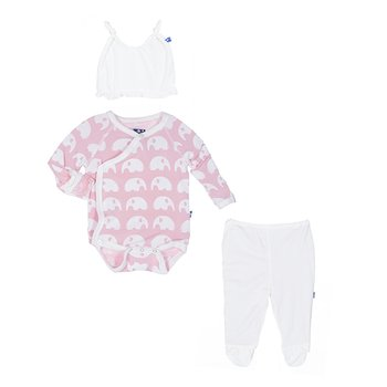 Essentials Ruffle Kimono Newborn Gift Set (with hanger) in Lotus Elephant