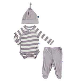 Essentials Kimono Newborn Gift Set (with hanger) in Feather Contrast Stripe