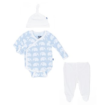 Essentials Kimono Newborn Gift Set (with hanger) in Pond Elephant
