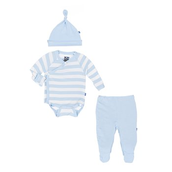 Essentials Kimono Newborn Gift Set (with hanger) in Pond Stripe