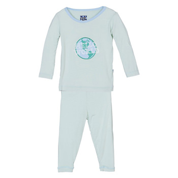 Holiday Long Sleeve Appliqué Pajama Set in Aloe Hello World