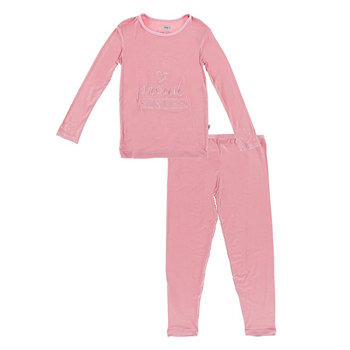 Holiday Long Sleeve Applique Pajama Set in Desert Rose Proud Sister