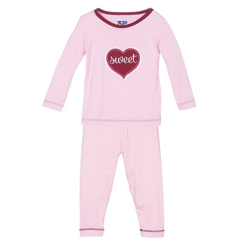 Holiday Long Sleeve Appliqué Pajama Set in Lotus Sweetheart