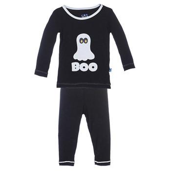 KicKee Pants Little Girls Holiday Long Sleeve Applique Pajama Set Winter Rose Penguin Girls 10 Years