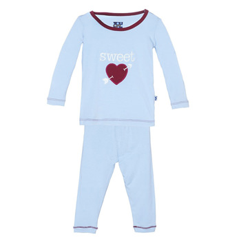 Holiday Long Sleeve Appliqué Pajama Set in Pond Sweetheart