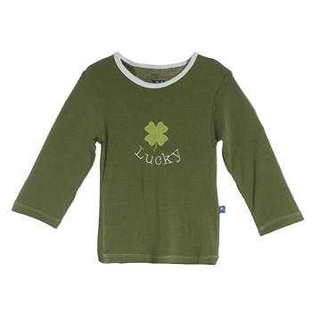 Holiday Long Sleeve Applique Tee in Moss Clover