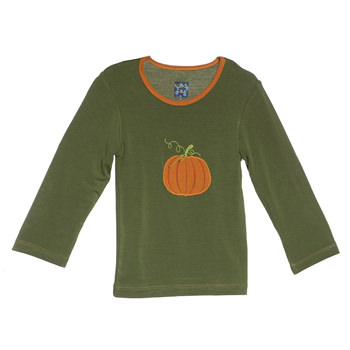 Holiday Long Sleeve Applique Tee in Moss Pumpkin