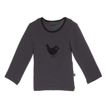 Holiday Long Sleeve Applique Tee in Stone Blackbird