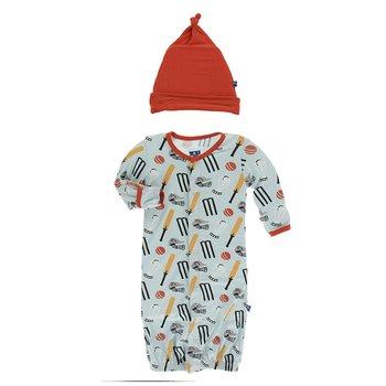 Preemie KicKee Pants Print Layette Gown Converter /& Knot Hat Set in Zebra Pizza