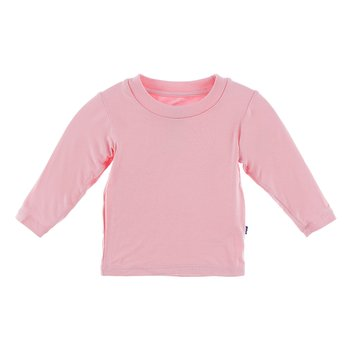 Solid Long Sleeve Crew Neck Tee in Lotus