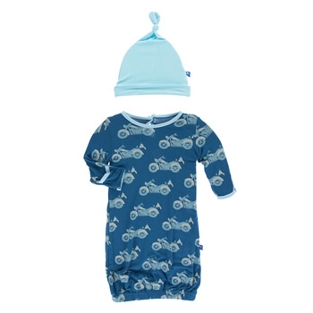 Print Layette Gown & Knot Hat Set in Heritage Blue Motorcycle
