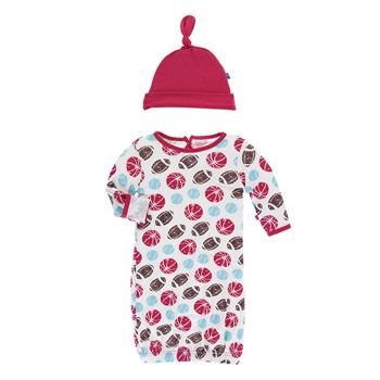 Print Layette Gown & Knot Hat Set in Natural Sports