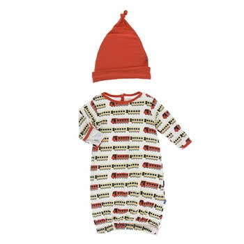 40b6731f3c770 Print Layette Gown & Knot Hat Set in Natural Indian Train