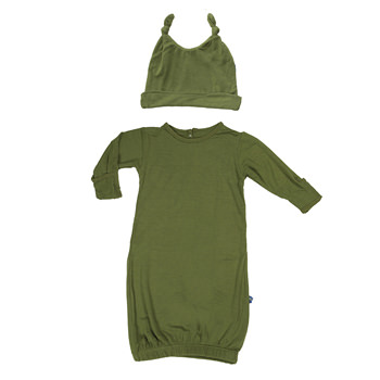 Basic Layette Gown & Double Knot Hat Set in Moss