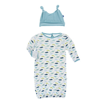 Print Layette Gown & Double Knot Hat Set in Boy Dino Print