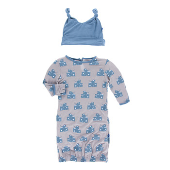 Print Layette Gown & Double Knot Hat Set in Feather Mouse and Cheese