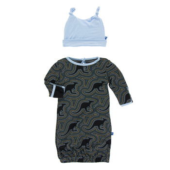 Print Layette Gown & Double Knot Hat Set in Midnight Kangaroo