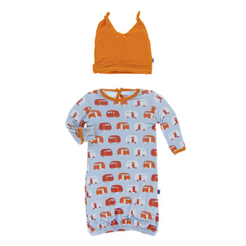 Print Layette Gown & Double Knot Hat Set in Pond Camper