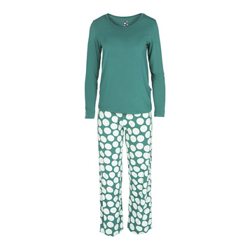 Long Sleeve Loosey Goosey Tee & Pant Set in Ivy Mod Dot