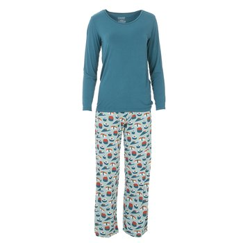 Long Sleeve Loosey Goosey Tee & Pant Set in Jade Sushi