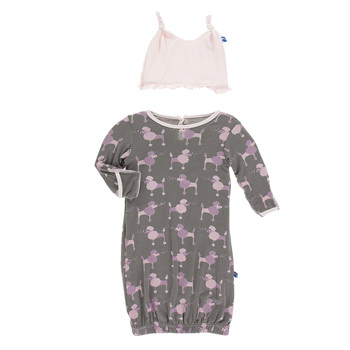 Print Layette Gown & Ruffle Knot Hat Set in Cobblestone Poodle