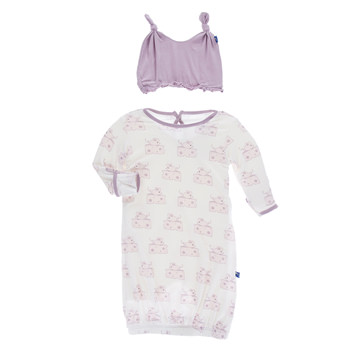 Print Layette Gown & Ruffle Knot Hat Set in Natural Mouse and Cheese