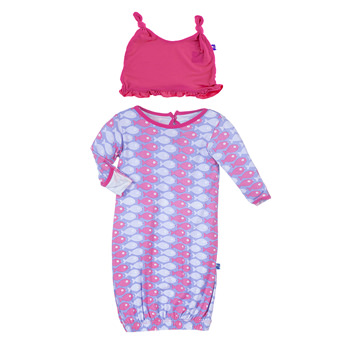 Print Layette Gown & Ruffle Knot Hat Set in Forget Me Not Piranha