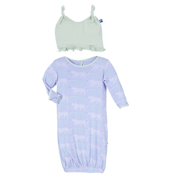 Print Layette Gown & Ruffle Knot Hat Set in Lilac Leopard