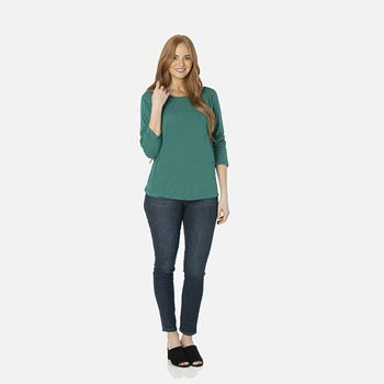 Solid Long Sleeve Loosey Goosey Tee with Pocket in Ivy