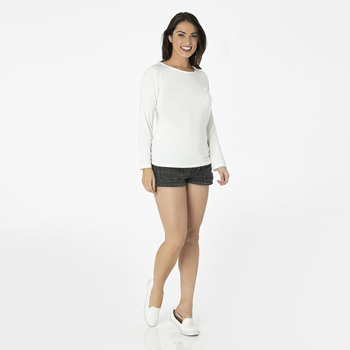Solid Long Sleeve Loosey Goosey Tee with Pocket in Natural