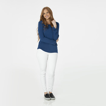 Solid Long Sleeve Loosey Goosey Tee with Pocket in Navy
