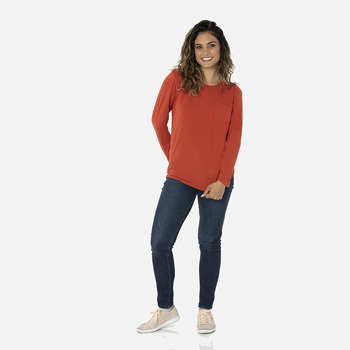 Solid Long Sleeve Loosey Goosey Tee with Pocket in Red Tea