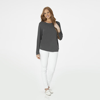 Solid Long Sleeve Loosey Goosey Tee with Pocket in Stone