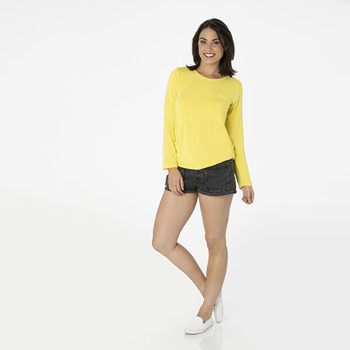 Solid Long Sleeve Loosey Goosey Tee with Pocket in Zest