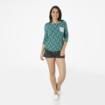 Print Long Sleeve Loosey Goosey Tee with Pocket in Ivy Tennis