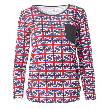 Print Long Sleeve Loosey Goosey Tee with Pocket in Union Jack