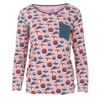 Print Long Sleeve Loosey Goosey Tee with Pocket in Lotus Sushi