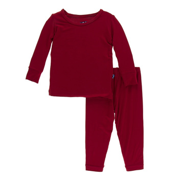 Solid Long Sleeve Pajama Set in Candy Apple
