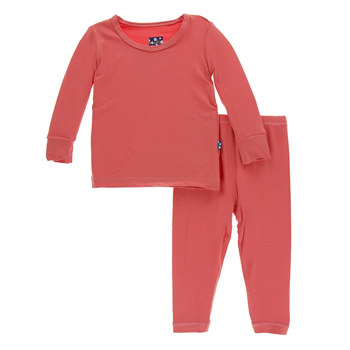 Solid Long Sleeve Pajama Set in English Rose