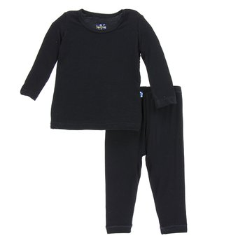 Basic Long Sleeve Pajama Set in Midnight