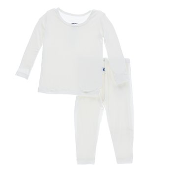 Basic Long Sleeve Pajama Set in Natural