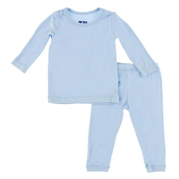 Basic Long Sleeve Pajama Set in Pond