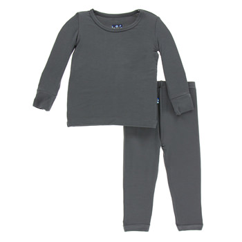 Solid Long Sleeve Pajama Set in Stone