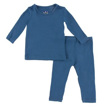 Basic Long Sleeve Pajama Set in Twilight