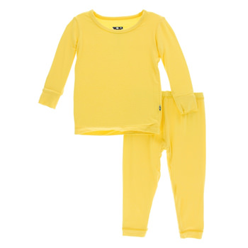 Solid Long Sleeve Pajama Set in Zest