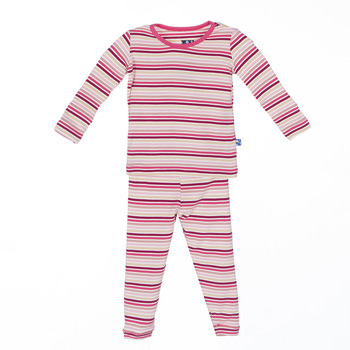 Print Long Sleeve Pajama Set in Girl Forest Stripe