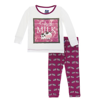 Print Long Sleeve Pajama Set in Berry Cow